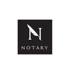 Letter n feather quill pen notary writer logo vector