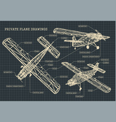 Light private plane drawings vector
