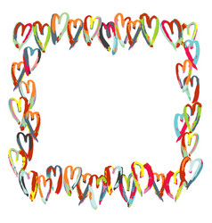 love hearts hand drawn brush square frame vector image