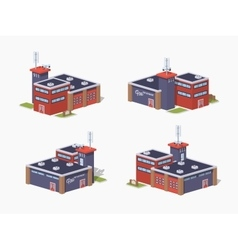 Low poly fire station vector image
