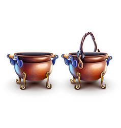 Magic copper pots for cooking vector