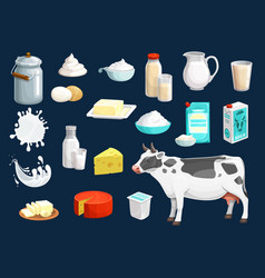 milk yogurt cheese butter cream and cow icons vector image