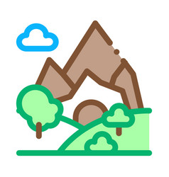 mountain landscape icon outline vector image