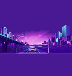 night neon city vector image
