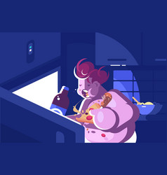 nightly overeating and gluttony vector image