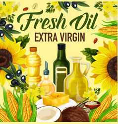 Oil of plants or nuts in bottles and butter poster vector