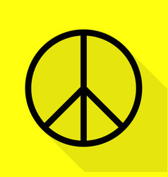 peace sign black icon with flat vector image
