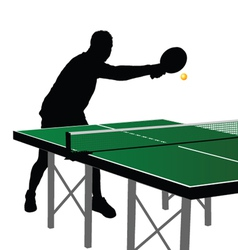 ping pong player silhouette six vector image