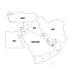 Political map of middle east or near east simple vector