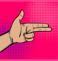 Pop art woman hand show bang gun finger vector
