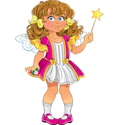 Pretty little girl in pink with magic wand vector image