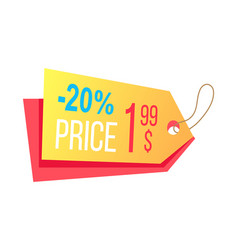 Price label with info about discounts final cost vector