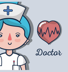 professional nurse with heartbeat to help people vector image