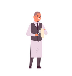 Professional waiter polishing wine glass with vector