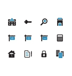 Real estate duotone icons on white background vector