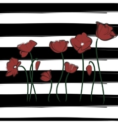 Red poppy watercolor drawn flowers Print vector