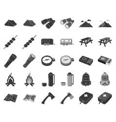 rest in the camping blackmonochrome icons in set vector image
