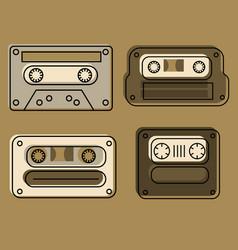 retro feel audio cassettes set vector image