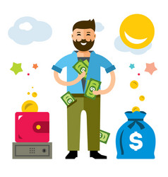 rich man flat style colorful cartoon vector image