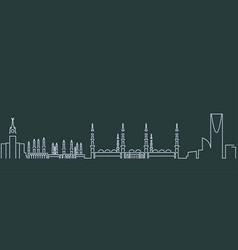 saudi arabia simple line skyline and landmark vector image