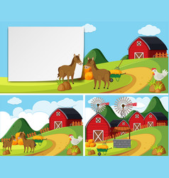 Scenes with horses in farmyard vector