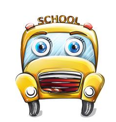 school bus funny cartoon happy smilling back to vector image