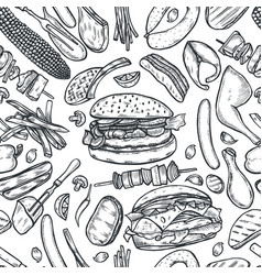 Seamless pattern barbecue grill vector