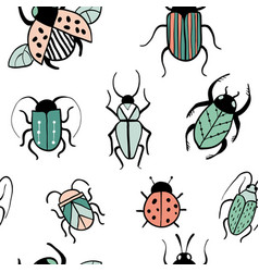 seamless pattern with decorative insects vector image