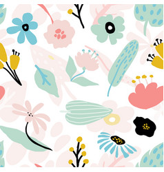 seamless repeating pattern with floral elements in vector image