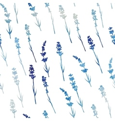 Seamless watercolor lavender pattern vector