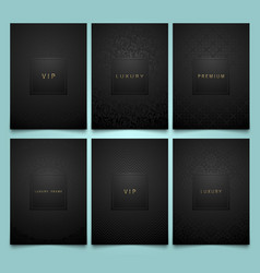 set black packaging templates with vector image