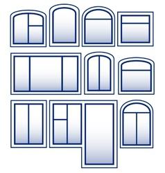 Set blue isolated window vector