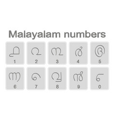 set monochrome icons with malayalam numbers vector image