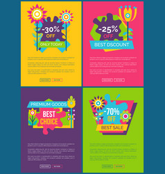 set of web posters discount promo stickers flowers vector image
