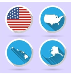 set usa country shape with flag vector image