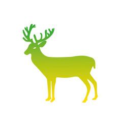Silhouette reindeer animal to merry christmas vector