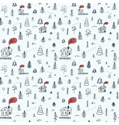 Simple cartoon seamless pattern with cute forest vector