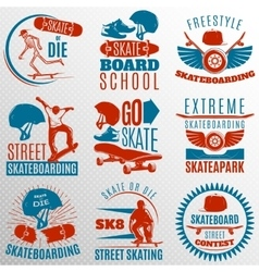 Skateboarding Emblem Set In Color vector image