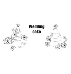 Sketch trending wedding cakes with floral vector