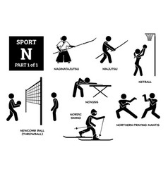 Sport games alphabet n icons pictograph vector