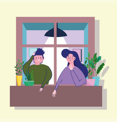 Stay at home quarantine happy couple in window vector