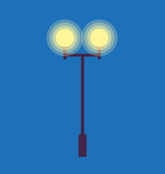 street lamp with two burning light bulbs on blue vector image