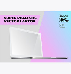 Super realistic notebook with blank screen vector