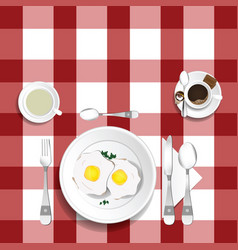 Table for lunch with eggs set one vector