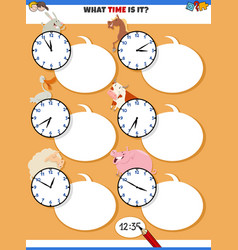 Telling time educational game with cartoon farm vector