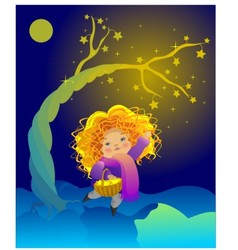 The little girl and the magic tree vector image