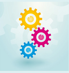 Three colorful gears vector
