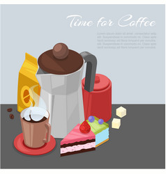 time for coffee cartoon vector image