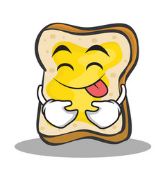 tongue out face bread character cartoon vector image