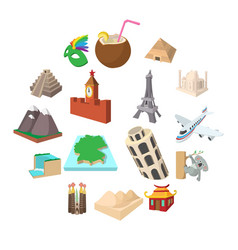 tourism icon set cartoon style vector image